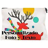 Neceser Estuche Maquillaje o Viaje - Personalizado con Tu Foto y Texto Favorito - Estuche Bolsa de Lino Personalizada Cosméticos - Niño Niña Mujer Hombre Infantil