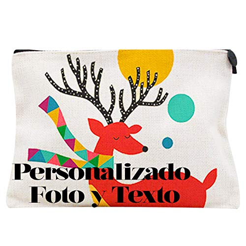 Toilettas voor make-up of reizen, personaliseerbaar met je foto en je favoriete tekst, tas van linnen, personaliseerbaar, voor jongens en meisjes, dames, heren en kinderen