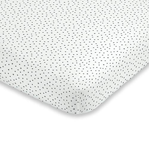 ED Ellen DeGeneres Painterly Floral - Soft 100% Cotton Grey & White Dot Fitted Crib Sheet, Grey, White