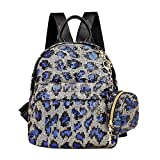 ACIL 2 unids/set lentejuelas leopardo impresión mochila embrague mujer viaje hombro escuela bolsas para adolescentes niñas, C