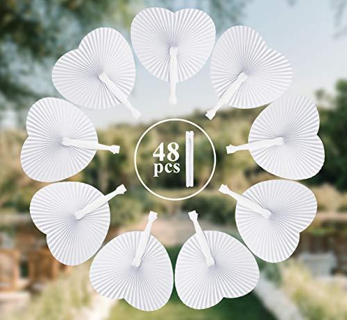 Anstore 48 STK. Papier Handfächer Hochzeit Papierfächer Herzförmiges Papierfächer Faltbar Taschenfächer für Hochzeit Deko Party Beutel Füller, Weiß