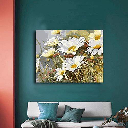 XIXISA Färbung nach Nummer DIY Pyrethrum Cinerariifoliu Ölfarbe Malerei nach Nummer Digital Family Hotel Acrylfarbe Dekorative Farbe 40x50cm DIY Holzrahmen
