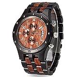 Bewell Reloj de madera luminoso Multifunción y Fecha de visualización Relojes de pulsera de moda Cronómetro para los hombres ZS-109D (Madera negra africana y sándalo rojo)
