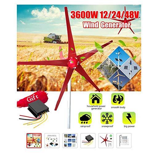 SISHUINIANHUA 3000W Windenergie, Elektrizität Generator 12V / 24V 5 Windklingen Horizontal Windgenerator mit Steuerpult Windturbinen Klinge,24v,3000w