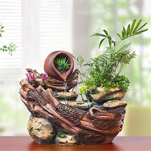 Rishx Las suculentas Plantas en Maceta Europea Suerte de rocalla Agua de Escritorio Feng Shui Adornos Agua Fuentes Cubierta de Resina Artesanal de Escritorio Hace Decorativo