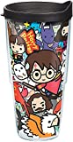 Tervis Harry Potter - Group Charms Tumbler with Wrap and Black Lid 24oz, Clear