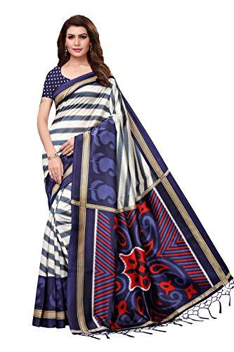 Jaanvi fashion Damen-Sari aus Seide, Shibori, bedruckt, mit Quasten und ungenähter Bluse Gr. One size, blau