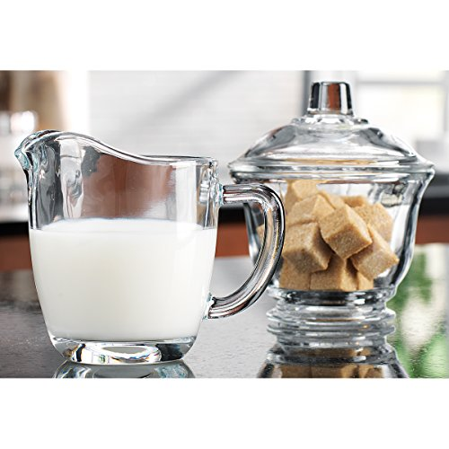 Home Essentials 8964-HE Clear Glass Sugar Bowl with Lid and Creamer Dispenser Set