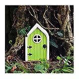 Detrade Miniatur Fairy GNOME Home Fenster und Tür Miniatur GNOME Home Country Cottage Fairy Tür Garten Dekor Kunst Skulpturen Fairy Garden Zubehör Outdoor-Dekorationen (Grün)
