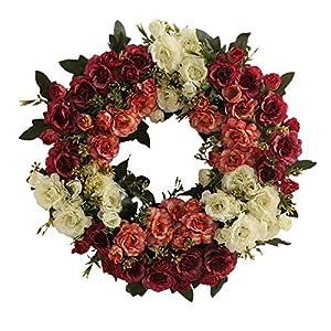 æ— Rose Wreath Door Wreath 16Inch Fake Silk Roses Summer Wreath Roses Artificial Flower Farmhouse Wreath for Front Door, Home, Window, Wall, Wedding Decoration