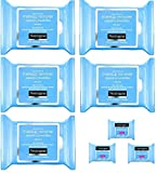 Neutrogena Makeup Remover Cleansing Towelettes, Daily Face Wipes to Remove Dirt, Oil, Makeup & Waterproof Mascara, 25 ct (5 pack + 3 Bonus Pouches)