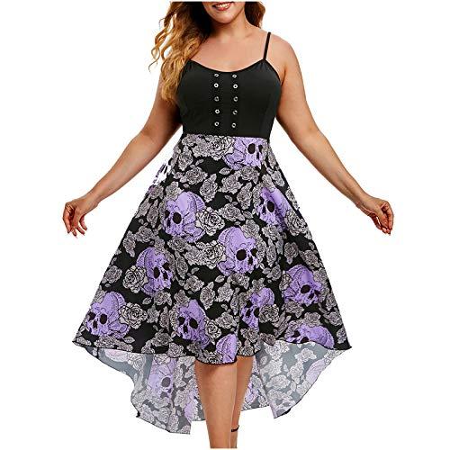 Womens Plus Size Midi-Dress Spaghetti Strap Skull Floral Print Swing Dress Summer Fashion Empire Waist A-line Dress Purple