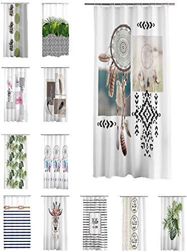 one-home Duschvorhang 180x200 cm wasserabweisend Badewannen Vorhang inklusive 12 Ringe, Farbe:Indianer Feder