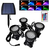 Solar Landscape Spot Light Underwater Pond Light LED RGB Colored IP68 Waterproof Fountain Light for Outdoor Garden Yard Lawn Pathway, Set of 4