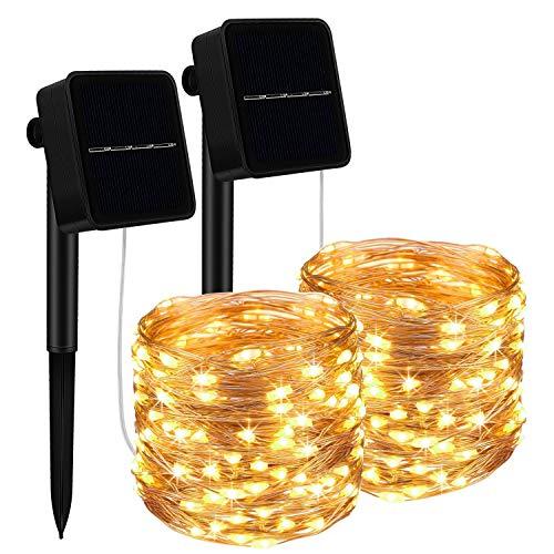 Solar Lichterkette Außen, [2 Stück] 15M 150 LED Lichterketten Aussen, Wasserdicht Kupferdraht Weihnachtsbeleuchtung Warmweiß Lichterkette für Balkon, gartendeko, Bäume, Terrasse, Hochzeiten, Partys
