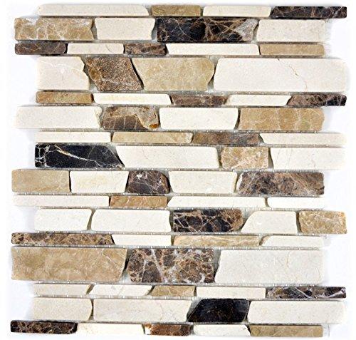 Mosaik Fliese Marmor Naturstein beige braun Brickmosaik Castanao Biancone für BODEN WAND BAD WC DUSCHE KÜCHE FLIESENSPIEGEL THEKENVERKLEIDUNG BADEWANNENVERKLEIDUNG Mosaikmatte Mosaikplatte