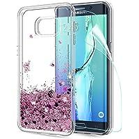 LeYi Compatible con Funda Samsung Galaxy S6 Edge Plus Silicona Purpurina Carcasa con HD Protectores de Pantalla,Transparente Cristal Bumper Telefono Fundas Case para Movil S6 Edge Plus ZX Oro Rosa