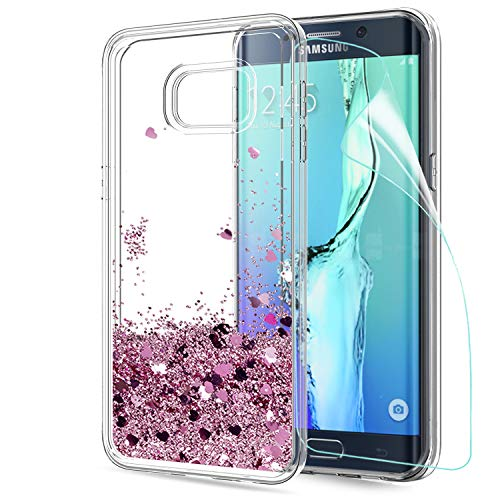 LeYi Hülle Galaxy S6 Edge Plus Glitzer Handyhülle mit HD Folie Schutzfolie,Cover TPU Bumper Silikon Treibsand Clear Schutzhülle für Case Samsung Galaxy S6 Edge Plus Handy Hüllen ZX Rot Rosegold