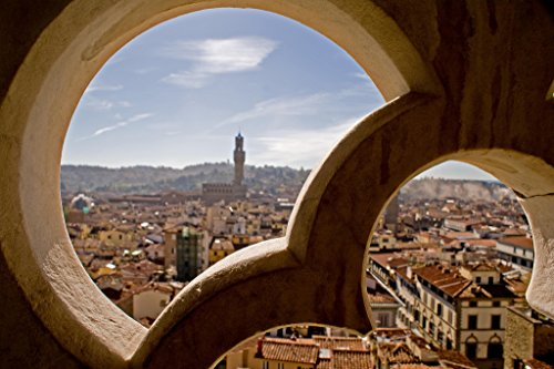 Florence Italy Through the Window Photo Art Print Poster 18x12