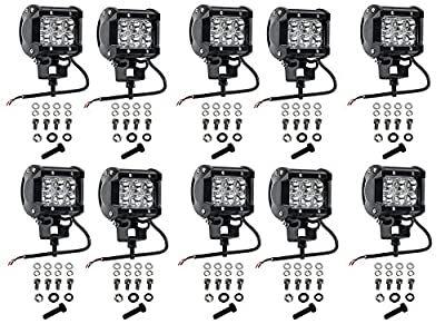 Cutequeen 10 X 18w 1800 Lumens Cree LED Spot Light for Off-road Rv Atv SUV Boat 4x4 Jeep Lamp Tractor Marine Off-road Lighting (pack of 10)