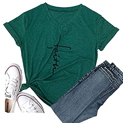 Hellopopgo Women Love Graphic Tops Tees V-Neck Funny T Shirt Cute Summer Tops