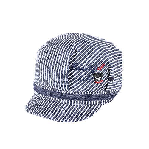 Sombrero para niños Primavera y Verano algodón Bordado Boina de Oso Sombrero de bebé Protector Solar a Rayas Coreanas