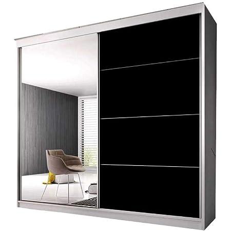 E-MEUBLES Armoire de Chambre avec 2 Portes coulissantes | Penderie (Tringle) avec étagères (LxHxP): 183x2180x61 Ben 31 (Blanc/Noir+ Miroir)