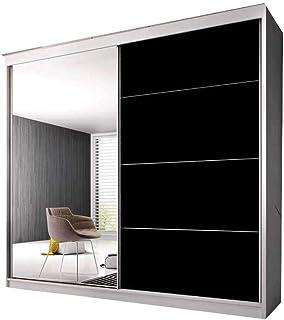 E-MEUBLES Armoire de Chambre avec 2 Portes coulissantes | Penderie (Tringle) avec étagères (LxHxP): 183x2180x61 Ben 31 (Bl...