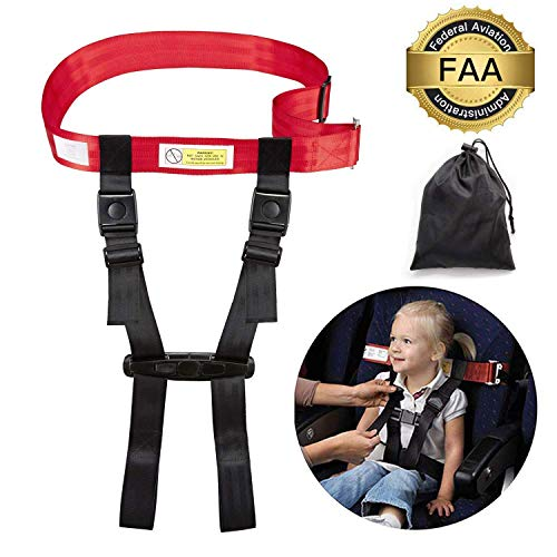 Toddler Airplane Travel Safety Harness, FAA Approved Aircraft Clip Strap, Seat Belt, Restraint System for Child, Baby, Kids, Easy Installation Adjustable and Lightweight, with Portable Pouch Bag