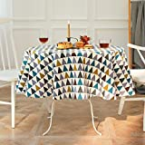 Manteles de lino de algodón redondos, 100-150 cm de diámetro antiarrugas colorido mantel a cuadros geométricos, cubierta de mesa inencogible sin decoloración para mesa de centro, hogar, restaurante