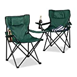 Relaxdays Campingstuhl 2er-Set, Rückenpolster, Getränkehalter, faltbar, Klappstuhl H x B x T: 82 x...