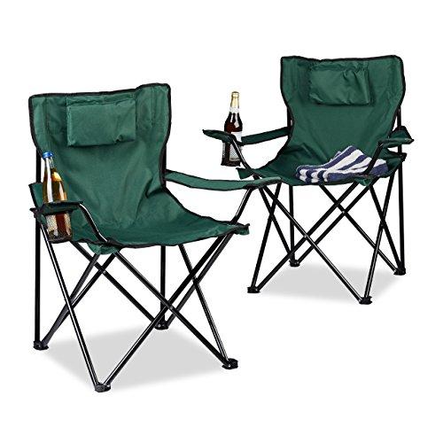 Relaxdays Campingstoel, 2-delige set, rugkussen, bekerhouder, opvouwbaar, klapstoel (H x B x D): 82 x 78 x 50 cm