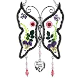 KY&BOSAM My Precious Sister New Butterfly Sun-Catchers Pressed Flower Between Glass for Window,...
