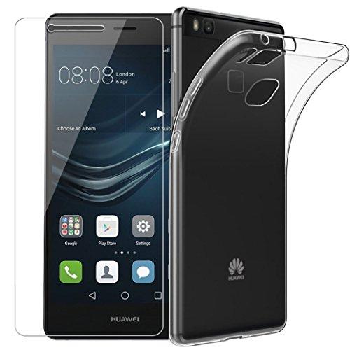 Yoowei per Huawei P9 Lite Custodia Cover [Pellicola Protettiva in Vetro Temperato], Cristallo Trasparente Sottile Anti Scivolo Case Posteriore della Copertura della Protezione Anti-Urto per P9 Lite