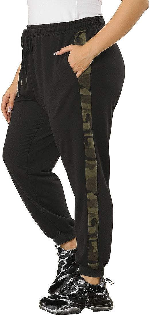 Agnes Orinda PlusSizeJogger Pants for WomenElastic Waist Contrast Camouflage Drawstring Sweatpants