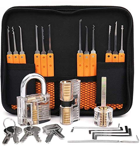 Lockpicking Set Profi, Dietrich Set 24-Teiliges Lock Picking Set mit 3 Transparenttem Vorhängeschloss Dietrichen Kit für Anfänger und Professionelle Lockpicker