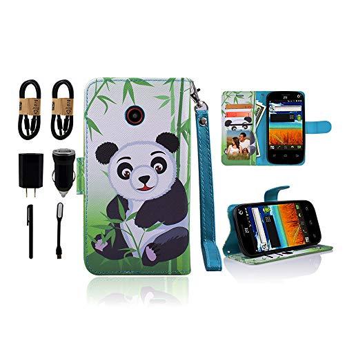 for ZTE N818S QLink Wireless Case Wallet Grip Kickstand Pouch Pocket Purse Screen Flip Cover for ZTE Sapphire 3g [Value Bundle] (Panda)