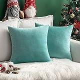 MIULEE Pack de 2, Terciopelo Suave Juego de Mesa de Manta de decoración Cuadrado Fundas de Almohada Funda de cojín para sofá dormitorio18 x 18 Pulgada 45 x 45 cm Teal Green