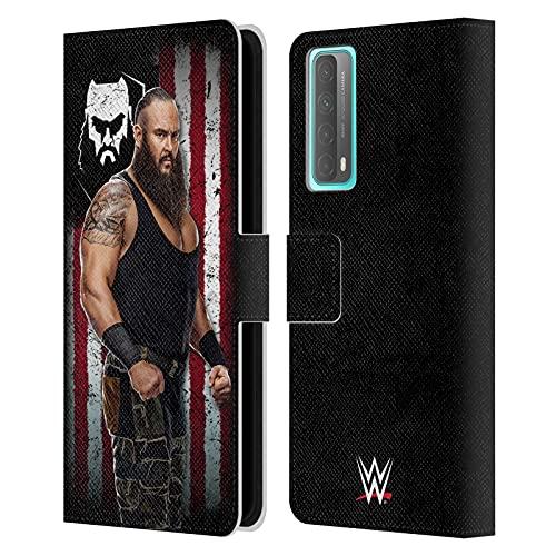 Head Case Designs Licenciado Oficialmente WWE Braun Strowman Bandera Americana Superstars Carcasa de Cuero Tipo Libro Compatible con Huawei P Smart (2021)