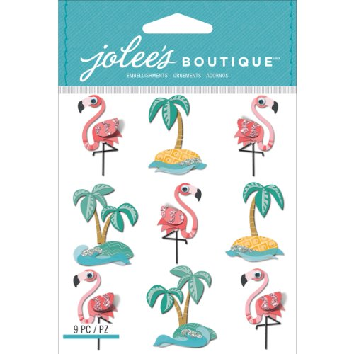 Jolees Boutique Dimensional Stickers, Flamants Roses et Palm Tree répétition