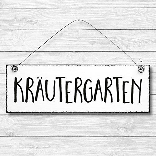 Kräutergarten - Dekoschild Türschild Wandschild Holz Deko Wand Tür Schild 10x30cm Holzdeko Holzbild Geschenk Mitbringsel Geburtstag