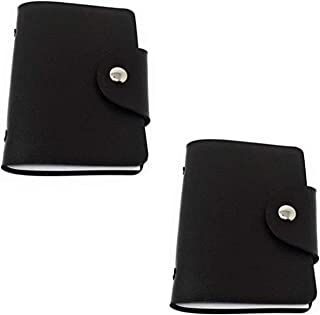 Card Holder Wallet, Double Sided PU Leather Credit Debit Case with 24 Slots for Bank Card, ID Card(Black)