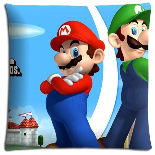 8888CASE Bedding Pillow Case Cotton Polyester Graceful The Super Mario Bros. Super Show Fundas para Almohada (45cmx45cm)