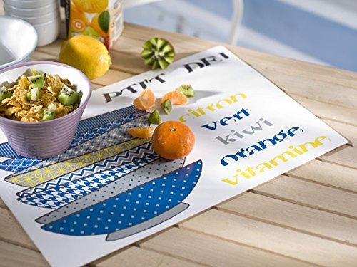 Calitex S7Y4605X71A Bol 6 Set de Tables PVC Bleu 44 x 28 cm