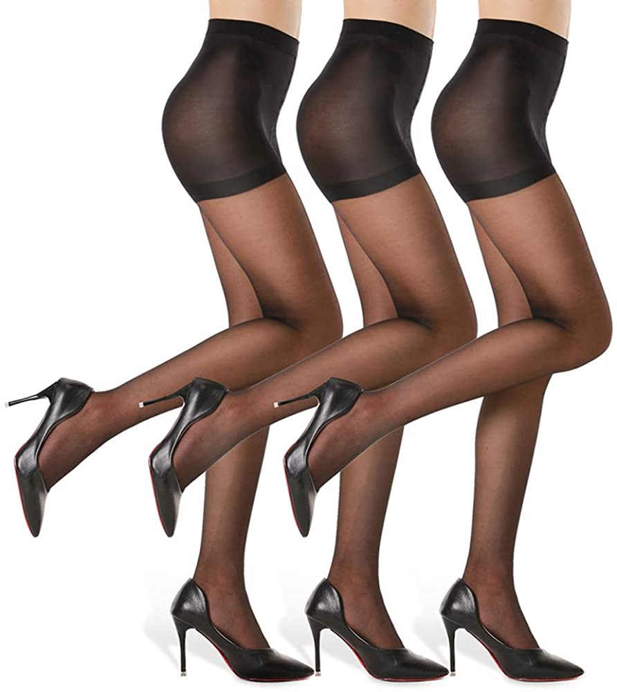 3 Pairs Women's Sheer Tights - 20D Control Top Pantyhose with Reinforced Toes
