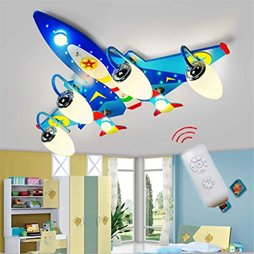 FHTD Kinder Cartoon Deckenleuchte Blaue Flugzeuge Kronleuchtern Kinderzimmer Schlafzimmer Leuchten Jungen Raumbeleuchtung Cartoon Creative LED Lampen Mit Fernbedienung [Energieklasse A+]