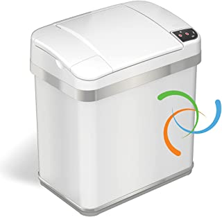 iTouchless Multifunction Matte Finish Trash Can, 2.5 Gallon, Pearl White