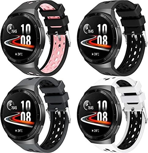 Classicase Correa de Reloj Compatible con Huawei Watch GT 2E, Blando Silicona Narrow Delgada Deporte Reemplazo Pulsera (4-Pack I)