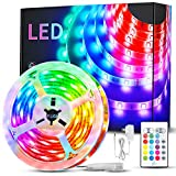 Claoner Led Strip Lights, 5050 RGB Color Changing Rope Light Strips with Remoter, 16.5ft Music Sync Flexible LED Tape Lights, Led Ribbon Lights for Party, Home Decoration, TV Backlight