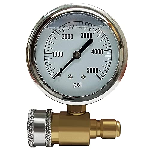 """Ultimate Washer 5000 PSI Pressure Gauge Kit with 3/8"""" FPT Quick Coupler Socket and 3/8"""" MPT Quick Coupler Plug"""